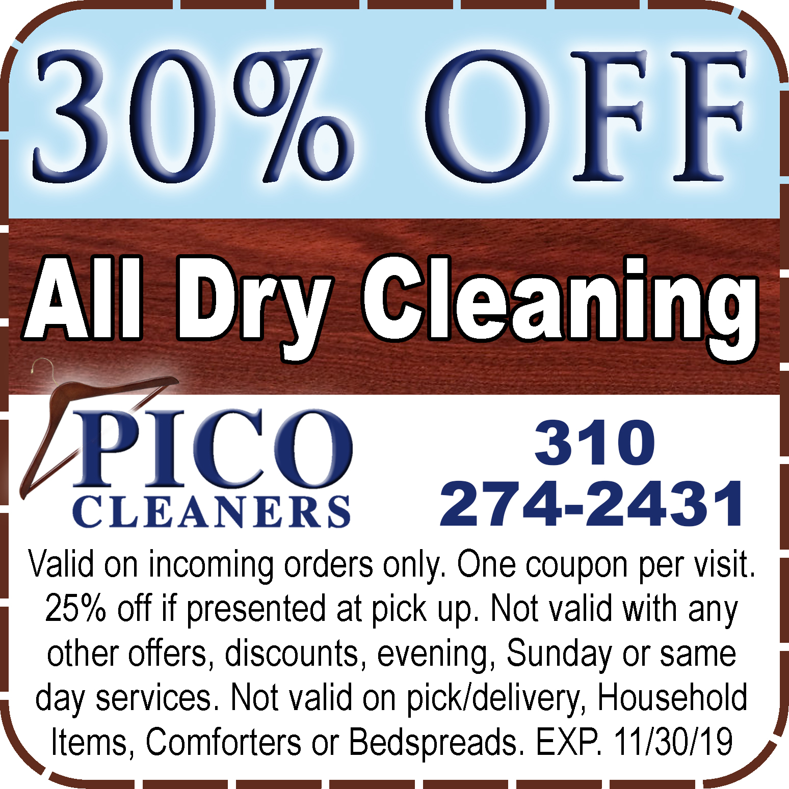 picture relating to Printable Dry Cleaning Coupons named Discount coupons - Pico Cleaners